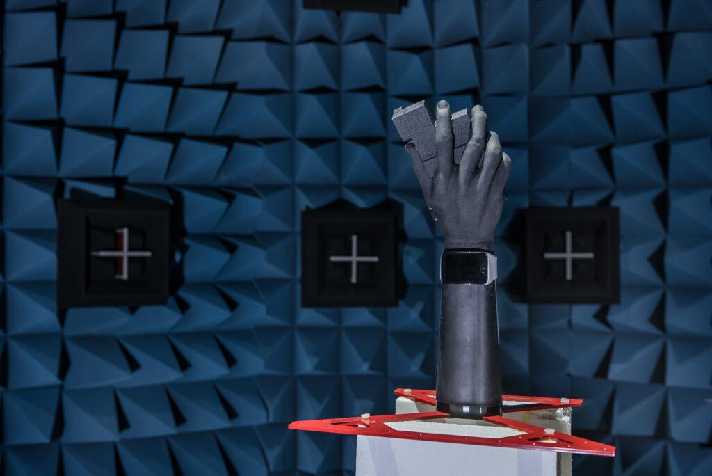 Test phantom hand and a smartwatch
