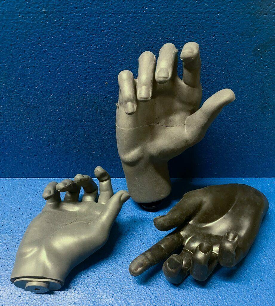 Test phantom hands used in the OTA testing process