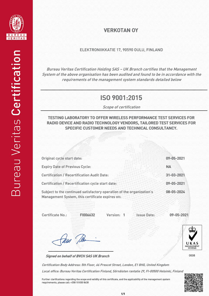 Verkotan has achieved ISO9001:2015 Quality Management System certification
