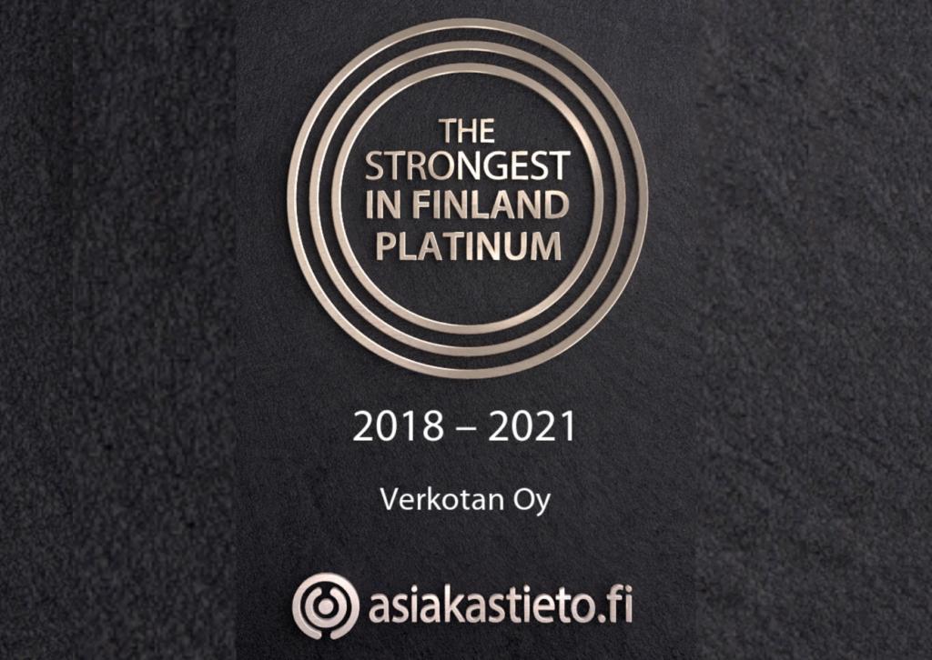 Verkotan has been granted The Strongest in Finland Platinum certificate